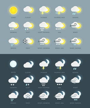 Flat colored weather icons collection with day and night variations. For weather forecast widgets and mobile apps. Weather symbols. Weather signs.