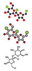 Sucralose artificial sweetener molecule. Used as sugar substitute