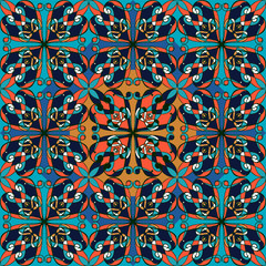 Garden Poster Moroccan Tiles Seamless pattern. Vintage decorative elements. Oriental pattern,