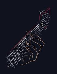 Playing guitar chord.