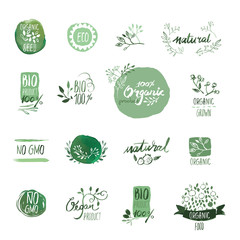 Set of organic food hand drawn watercolor badgesand elements. Vector illustrations for organic food and drink, restaurant and organic products.