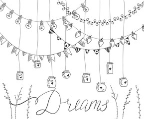 Set of hand drawn borders,garlands, jars, bottles with flowers. Lamps, lanterns,flags, flashlights. Plants, flowers, leaves. Decoration vector brushstroke set.Used brushes included.
