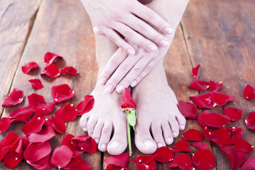 Spa treatment, pedicure and manicure