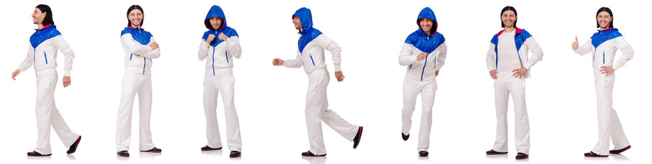 A man in white sportswear isolated on white