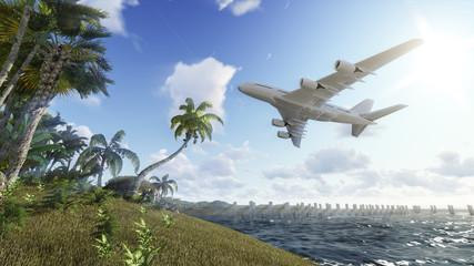 Airplane over island