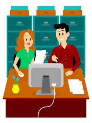 Man Guiding a Woman to Work at Office Clipart