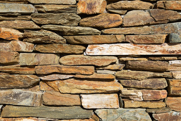 Wall of stacked slabs of stone. Texture detail