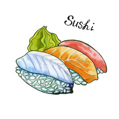 Sushi. Japanese food. isolated. watercolor