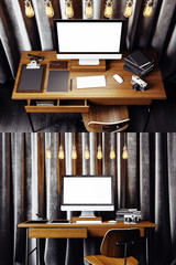 Double vertical photo contemporary work place interior. Workspace in loft with generic design computer and office supplies.Abstract gray curtains background,vintage electric lamps.3d rendering