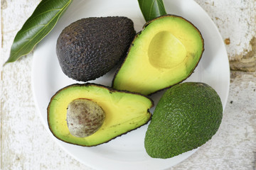 Fresh green cutted avocado