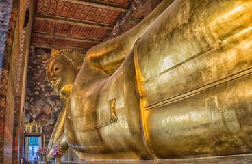 Large reclining Buddha image in Bangkok, Thailand