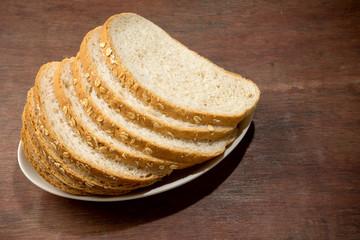 slice brown cut plain bread