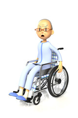 車椅子を使っている老人