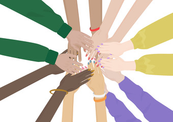 Group of Diverse Hands Together isolated. Team of friends unity.