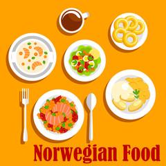 Fish dishes of norwegian cuisine flat icon