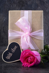 Mothers Day gift with pink rose.