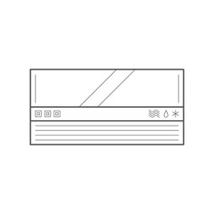 Thin line vector conditioner. Home appliance, vector illustration.