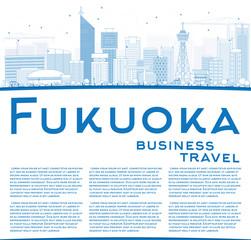 Outline Fukuoka Skyline with Blue Landmarks and Copy Space.