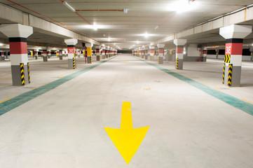 An empty underground parking space, Kuala Lumpur, Malaysia.