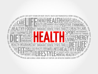 Health word cloud, fitness, health concept