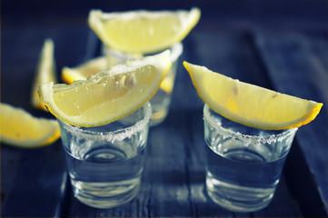 white tequila salt lemon wooden color