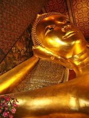 Golden Reclining Buddha Statue At Wat Pho, Bangkok, Thailand
