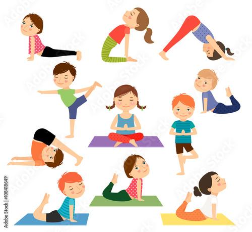 Children Yoga Kids Doing In Different Poses Vector Illustration