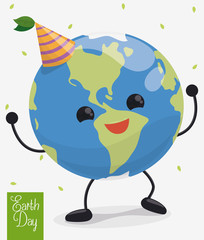 Happy Dancing Planet in Earth Day Celebration, Vector Illustration