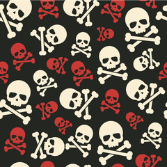 Vector seamless pattern skulls and crossbones background