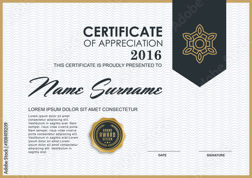 quotcertificate template with luxury and modern pattern