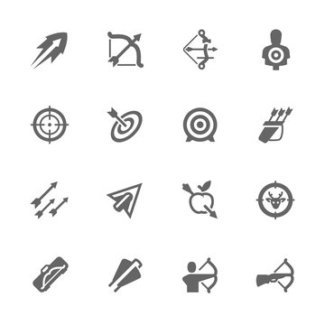 Simple Bows and arrows icons