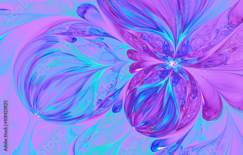 Wall mural violet abstract wave psychedelic flower background. Fractal artwork for creative design.