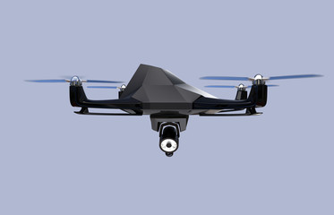 Stealth drone equip with search light flying in the sky. 3D rendering image.