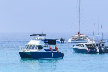 tourist speed boat floating in harbor port phuket island souther