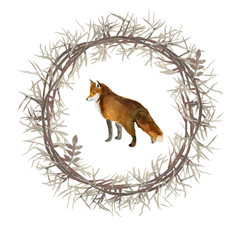 Wreath with Fox. Watercolor drawing. Can be used for printing and design