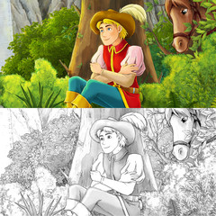 Cartoon scene with a horseman resting in the forest - with  coloring page - illustration for children