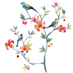Floral composition with birds