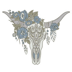 Decorative Indian bull skull with ethnic ornament, flowers