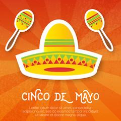 Mexican sombrero hat, maracas.Musical Instrument. Maraca, Mexico, Carnival, Percussion Instrument.  Vector illustration.