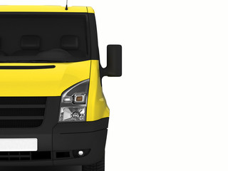 Yellow delivery van on a white background.3D illustration.