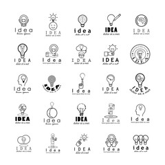 Idea Icons Set-Isolated On White Background-Vector Illustration,Graphic Design.