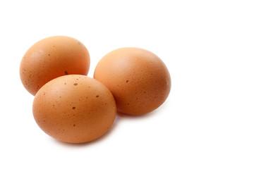Chicken eggs closeup on white background