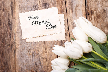 Happy mothers day card with bunch of tulips