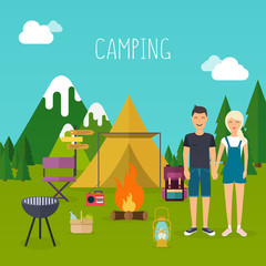 'amping and outdoor recreation concept with flat camping travel