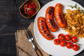 Sausages and fried cabbage