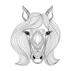 Vector Horse. Coloring page with zentangled Horse face. Hand dra