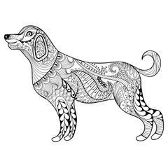 Vector zentangle dog print for adult coloring page. Hand drawn a