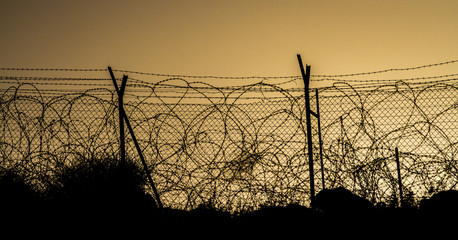 Fence with barbed wire on the background of evening sky