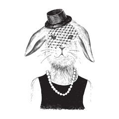Fototapete - dressed up bunny  girl in hipster style