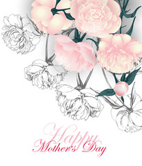Mothers  Day Concept.   Greeting card with Bouquet of pink peonies. Template Vector.